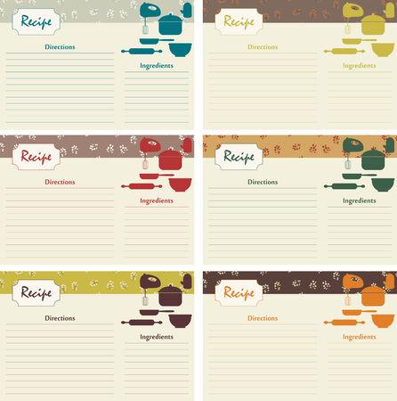 Retro recipe cards. 6 vector illustrations