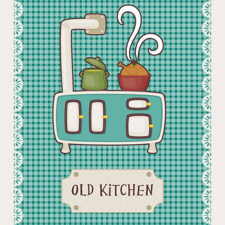 Retro card old kitchen. Vintage stove top with pots. Vector