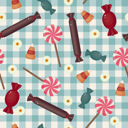 Seamless candies wallpaper. Bright sweet assortment on checked background Ilustrace