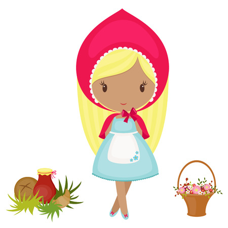 Little Red Riding Hood with a basket, flowers and food. Vector