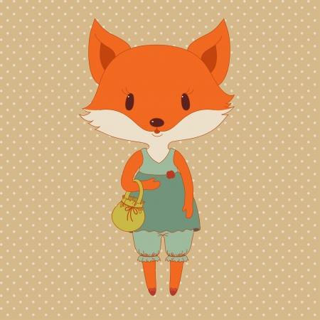 Retro fashion fox Vector