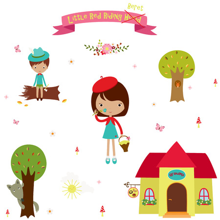 Icons set from the fairy tale Little Red Riding Hood. Cute cartoon elements design over white.
