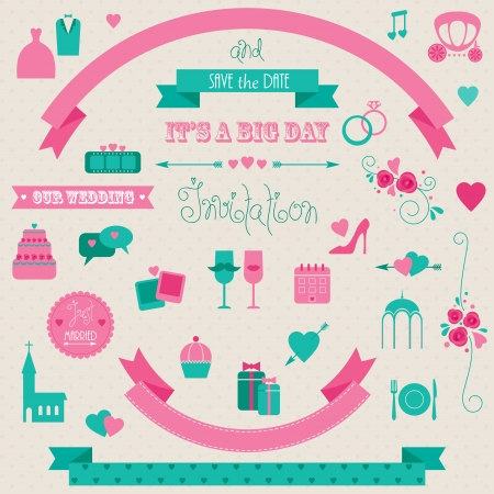 Big set of retro wedding collection. Vector icons and banners. Vector