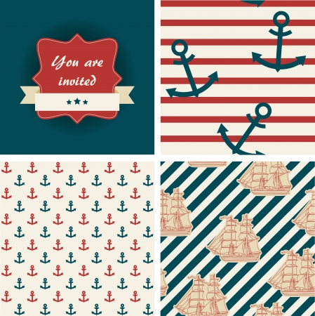 Seamless nautical patterns and invitation. Sea life theme Vector