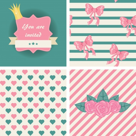 Princess seamless patterns and invitation.  Vector