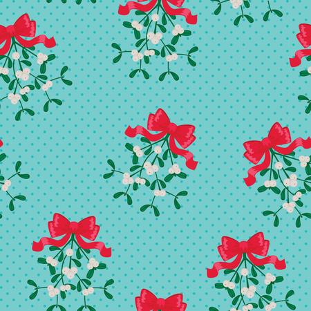 festive: Festive mistletoe seamless wallpaper