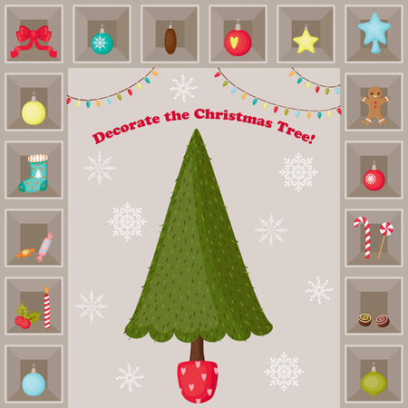 Christmas Tree and decorations vector illustration design. Everything grouped and ready to play. Illustration