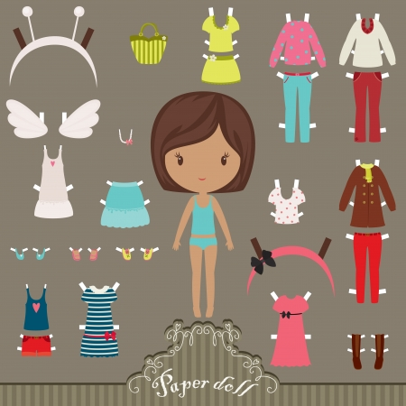 Dress up paper doll with body template Vettoriali