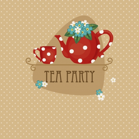 Tea party invitation and card design