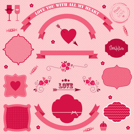 Big set of vector icons and banners on Valentine's day. Vector