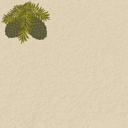 Blank vintage background with hand drawn pinecones
