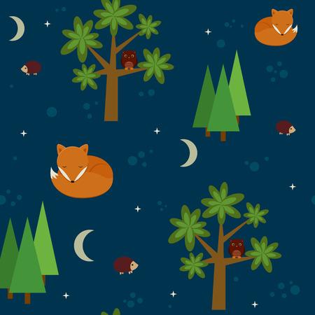 night: Forest night seamless wallpaper Illustration