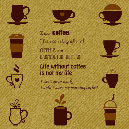 coffee: Coffee icons set in two colors over grunge background. Quotes about coffee