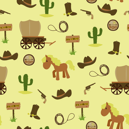 Childish seamless wallpaper. Cowboys theme Vector