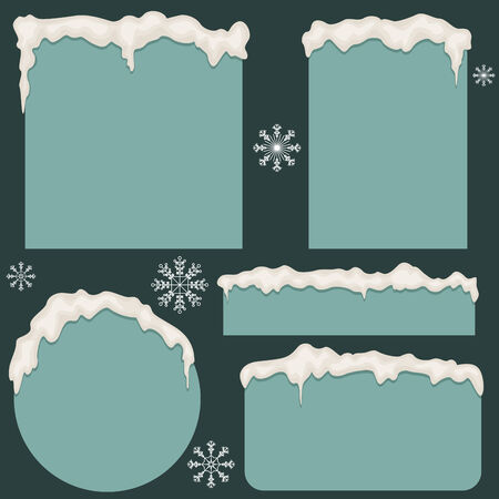 snowflake border: Cartoon illustration of snowy borders and snowflakes different shapes