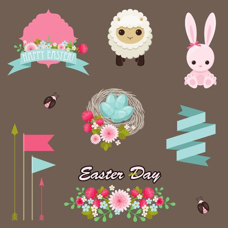 bugs bunny: Easter icons Illustration