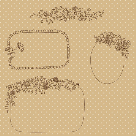Hand drawn floral borders and frames. Vector illustration Vector