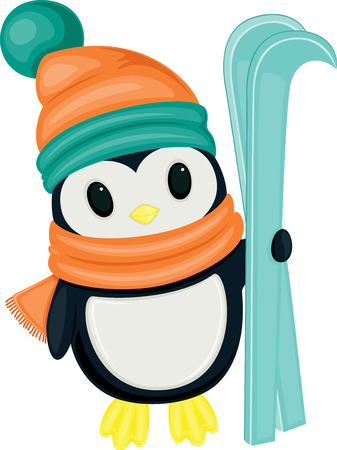 Cute cartoon penguin with skis, isolated on white background