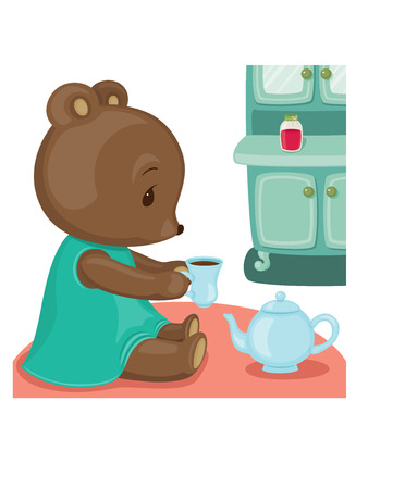 clipping mask: Teddy bear tea time. Vector illustration with clipping mask