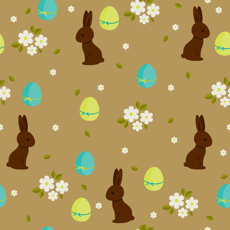 Chocolate bunnies and colorful eggs floral seamless pattern Illustration