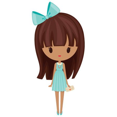 갈색 머리: 드레스에 귀여운 패션 소녀. 화이트 이상 격리