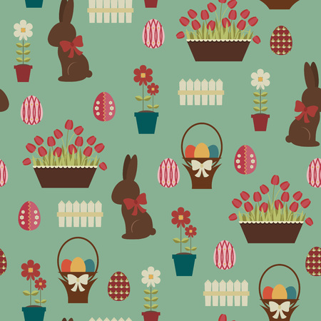 patter: Easter seamless patter with chocolate bunny