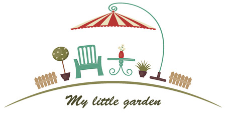 Retro garden illustration with text ''My little garden''