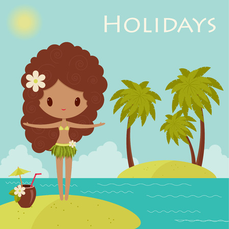 Hawaiian holidays poster with Hula dancer Vector