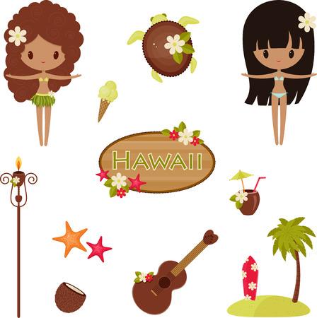 gente bailando: S�mbolos vectoriales Hawaii e iconos. Aislado en blanco