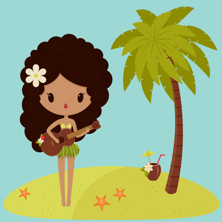 Hawaiian Hula dancer is singing near a palm tree  Vector