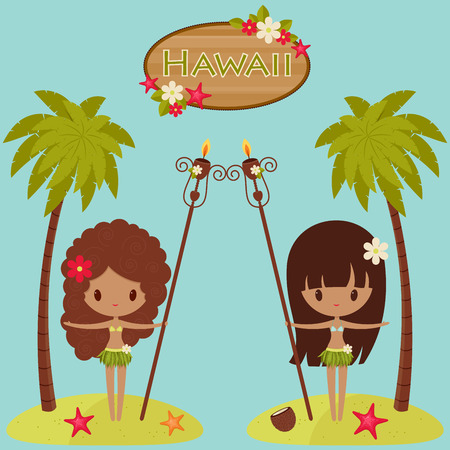 Hawaii  poster. Hawaiian Hula dancers near palm trees and Hawaii signboard Vector