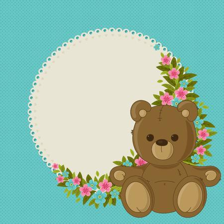 Beautiful blue floral blank card with teddy bear Vector