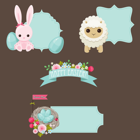 Easter stickers design vector collection Vector