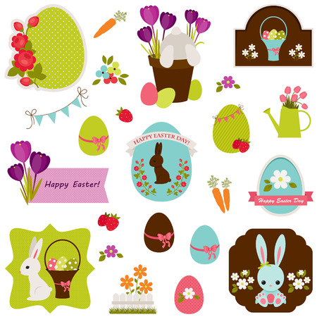 Easter icons, labels, stickers and tags design. Isolated over white Illustration