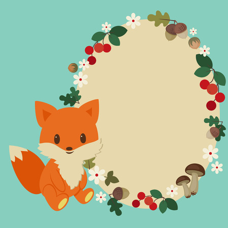 Kids card with baby fox and blank floral frame