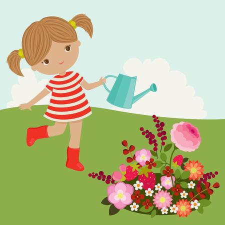 Little girl watering the flowers outdoor 일러스트