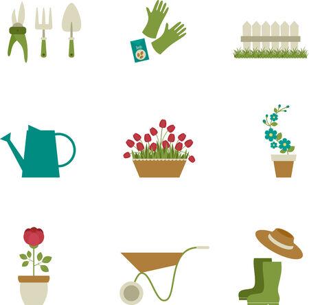 Gardening icons design. Isolated over white Illustration