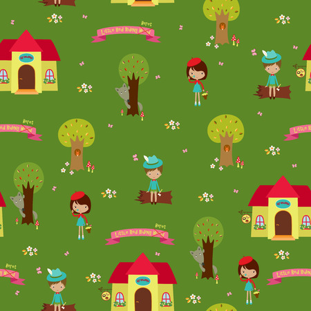 cartoon little red riding hood: Seamless wallpaper design. Fairy tale Little Red Riding Hood