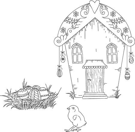 uncolored: Sello digital. Casa de Pascua con los huevos y los pollitos. Ilustraci�n dibujados a mano Uncolored Vectores