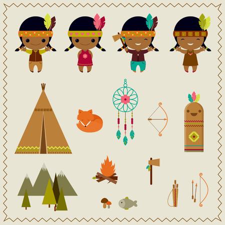 indio americano: Diseño indio americano iconos de clip art Vectores