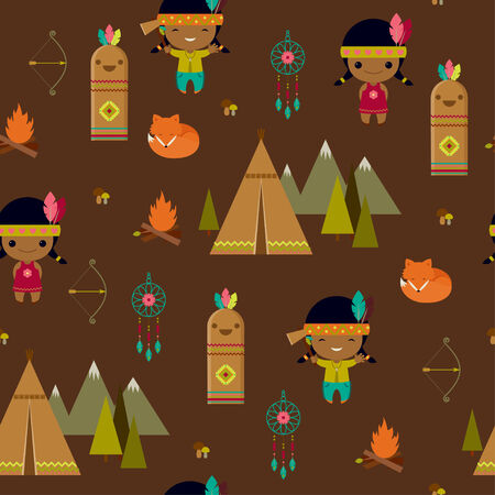 American indian clipart seamless wallpaper Vector
