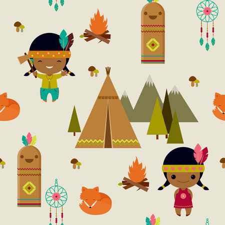 American indians clipart seamless wallpaper Vector