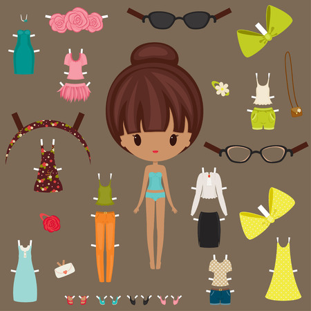 Dress up paper doll with body template 向量圖像