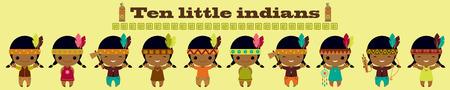 native american tomahawk: Ten little indians. Nursery rhymes song illustration