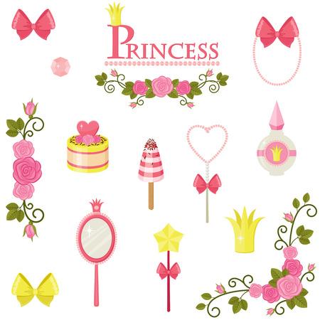 illustration of princess design elements.  Vector