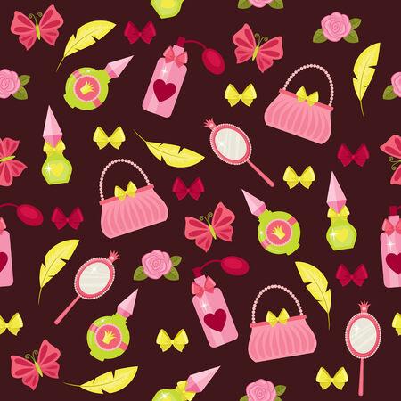 Princess fashion accessories seamless pattern Illustration