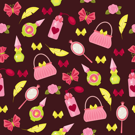 Princess fashion accessories seamless pattern 矢量图像