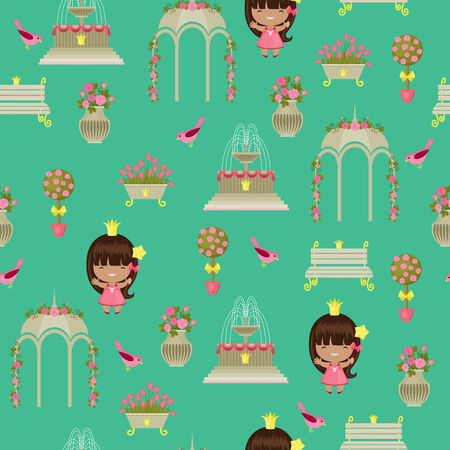 Royal garden with princess seamless pattern Illustration
