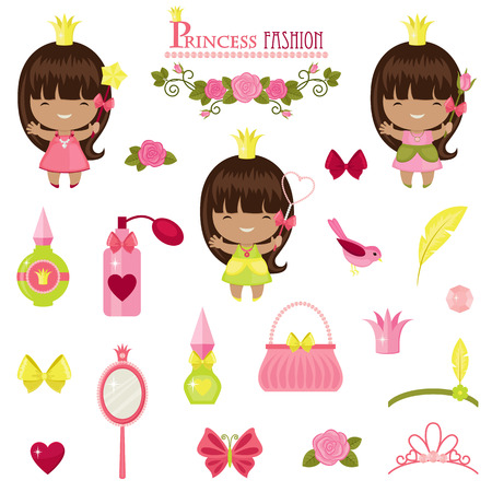 Three little princesses and fashion accessories. Isolated icons over white background