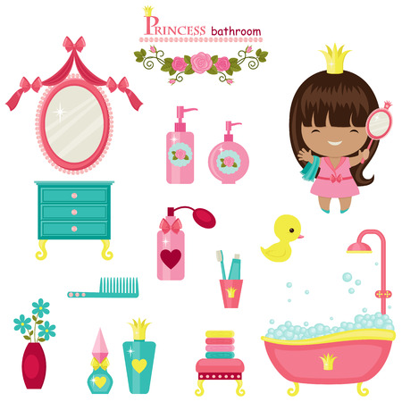Princess bathroom collection. 矢量图像